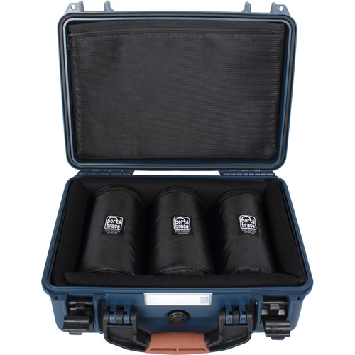 "Porta Brace Hard Case with Three 7"" Lens Cups for DSLRs or Small Equipment and Accessories (Blue)"