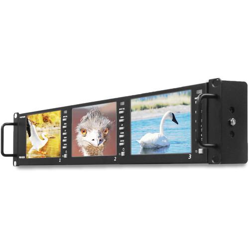 "Postium Korea PRM-503A Triple 5"" LCD 2RU Multi-Channel Rack Monitor"