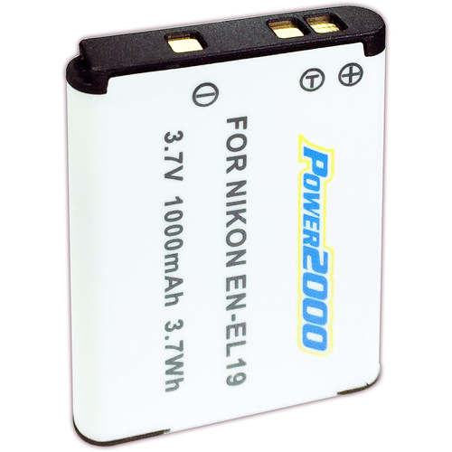 Power2000 EN-EL19 Rechargeable Lithium-Ion Battery Pack (3.7V, 1000mAh)