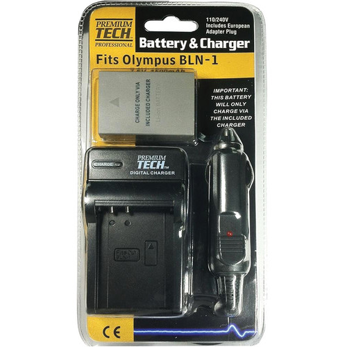 Power2000 Premium-Tech BLN-1 Lithium-Ion Battery and Charger Kit for Olympus Cameras