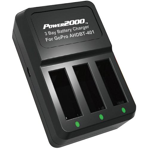 Power2000 3-Bay Battery Charger for GoPro HERO4 AHDBT-401 Type Batteries