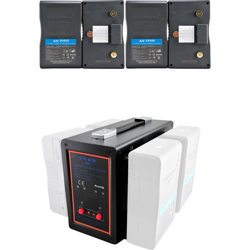 POWERANGE PR-5680A-4 Simultaneous Gold Mount Quad-Charger and 16.8 VDC Power Station With 4-98Wh Gold Mount Batteries
