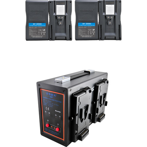 POWERANGE PR-5680B-4 Simultaneous V-Mount Quad-Charger and 16.8 VDC Power Station With 4-98Wh V-Mount Batteries