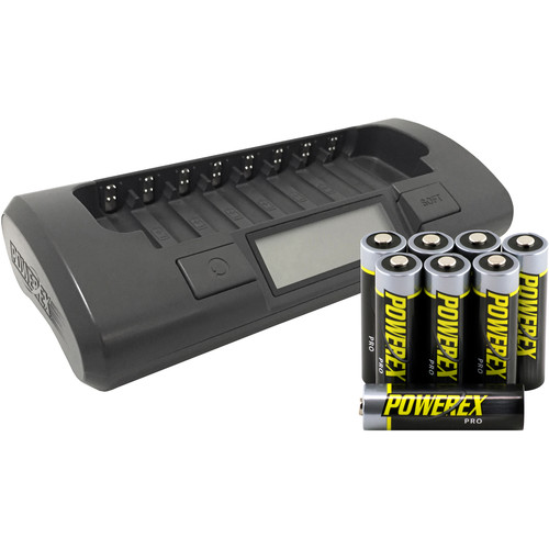 Powerex MH-C800S Charger with 8 Pro AA NiMH Batteries (1.2V, 2700mAh)