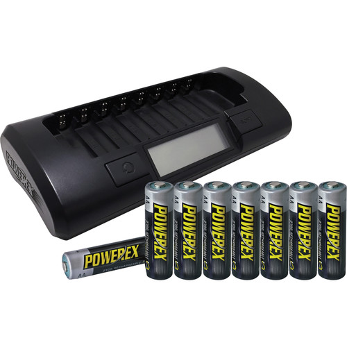 Powerex MH-C801D 8-Cell 1-Hour Charger with 8 AA NiMH Batteries