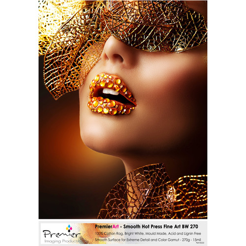 """Premier Imaging Smooth Fine Art Bright White Paper (270 gsm, 13 x 19"""", 50 Sheets)"""