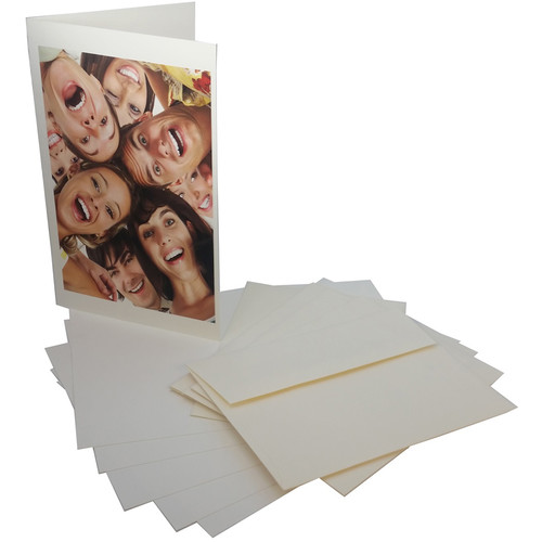 """Premier Imaging PremierArt Smooth 325 Natural White Cotton Scored Greeting Cards (10 x 7"""", 100 Cards)"""