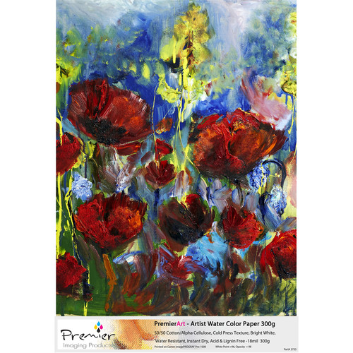 """Premier Imaging PremierArt Artist Water Color Fine Art Paper (8.5 x 11"""", 50 Sheets)"""