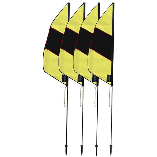 Premier Kites & Designs FPV Boundary Marker Flags (4-Pack, 3.5', Black/Yellow)