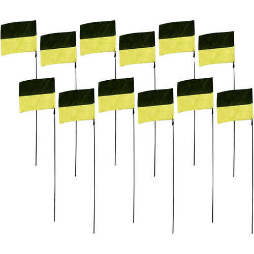 "Premier Kites & Designs FPV Line Markers (12-Pack, 8 x 12 x 44"", Black/Yellow)"