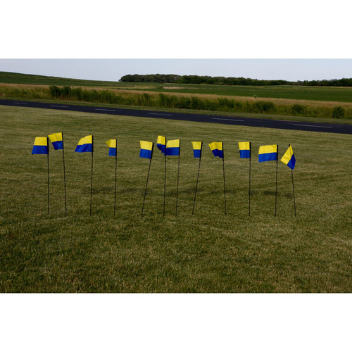 "Premier Kites & Designs FPV Line Markers with Horizontal Hobby Logo (12-Pack, 8 x 12 x 44"", Blue/Yellow)"