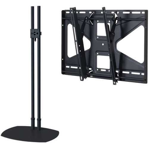 """Premier Mounts Low-Profile Floor Stand with 84"""" Dual Poles & Tilting Mount for Flat-Panels (Load Up to 160 lb, Black)"""