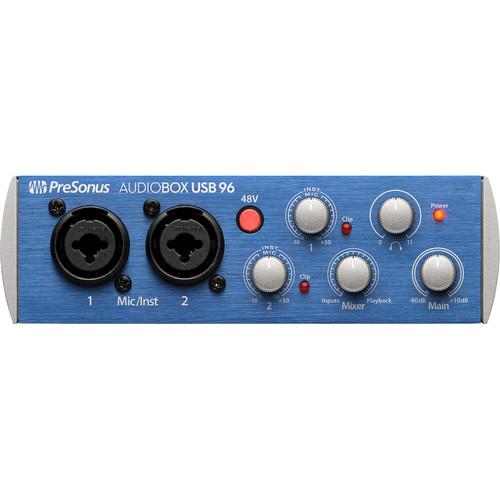 PreSonus AudioBox USB 96 Desktop 2x2 USB Audio/MIDI Interface (Blue)