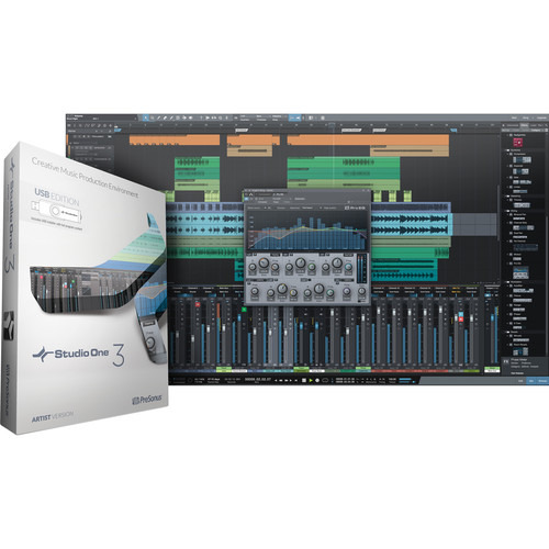 PreSonus Studio One Artist 3 - Audio and MIDI Recording/Editing Software (USB Content, Activation Card)