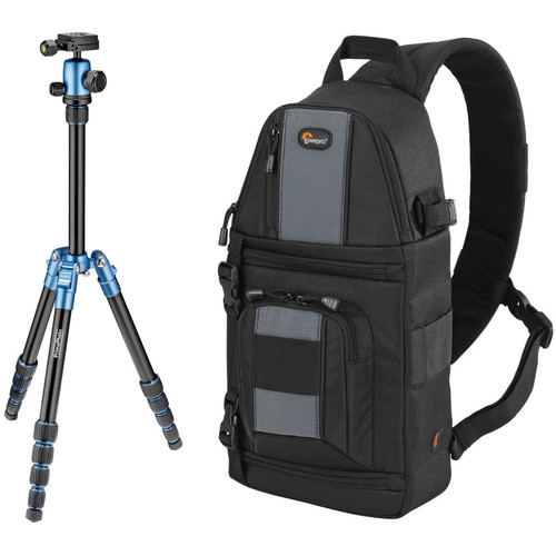 Prima Photo Small Travel Tripod (Blue) and Lowepro SlingShot 102 AW Camera Bag Kit