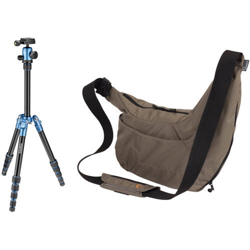 Prima Photo Small Travel Tripod (Blue) and Lowepro Passport Sling Camera Bag (Mica) Kit
