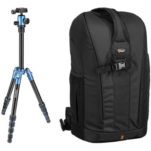 Prima Photo Small Travel Tripod (Blue) and Lowepro Flipside 300 Backpack (Black) Kit