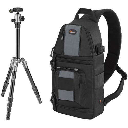Prima Photo Small Travel Tripod (Silver) and Lowepro SlingShot 102 AW Camera Bag Kit