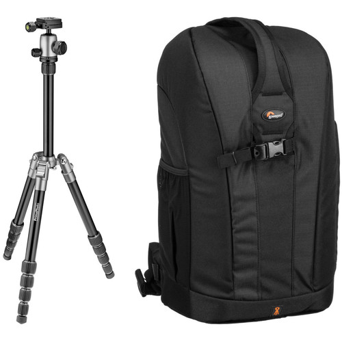 Prima Photo Small Travel Tripod (Silver) and Lowepro Flipside 300 Backpack (Black) Kit