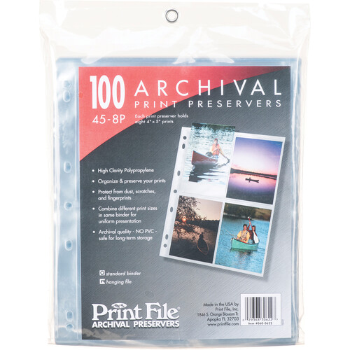 """Print File 45-8P Archival Storage Page for 8 Prints (4 x 5"""", 100-Pack)"""