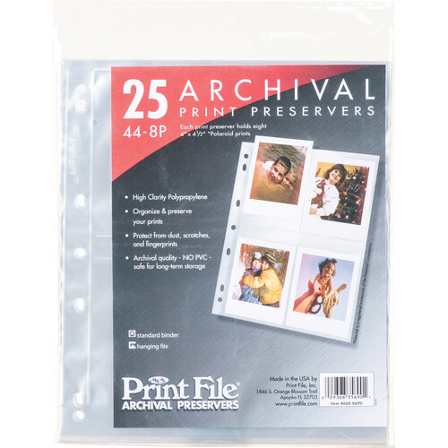 "Print File 44-8P Archival Storage Page for 8 Prints (4 x 4.5"", 25-Pack)"