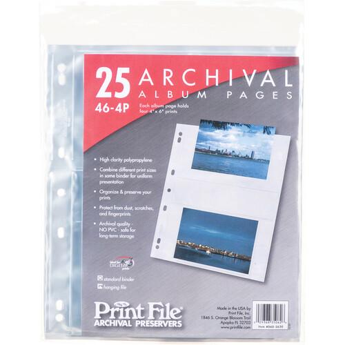 "Print File 46-4P 4 x 6"" Photo Album Pages (25 Pack)"