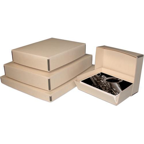 "Print File Drop-Front Metal Edge Archival Storage Box (Tan, 11.5 x 14.5 x 3"")"