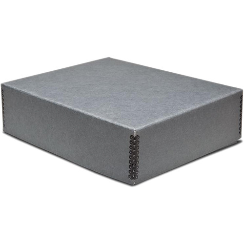"Print File Drop-Front Metal Edge Archival Storage Box (Gray, 11.5 x 14.5 x 1.5"")"