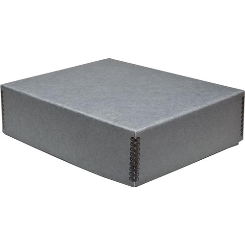 "Print File Drop-Front Metal Edge Archival Storage Box (Gray, 13.5 x 19.5 x 3"")"