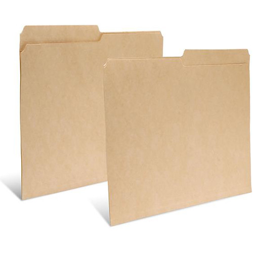 """Print File Letter Size Folder with 1"""" Reinforced Half Tab (Buffered Dark Tan, 50-Pack)"""