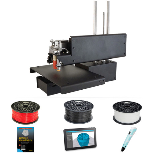 Printrbot Assembled Simple Metal 3D Printer with Standalone 3D Printer Controller, 3D Printed Science Projects Book, 3D Printing Pen & Black/White/Red Filament Kit