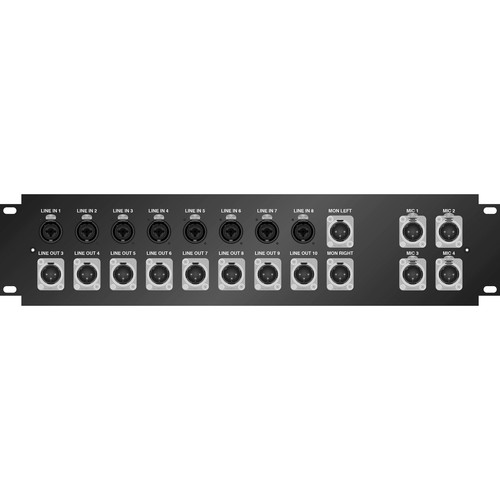 Pro Co Sound 2 RU Labeled Panel with 8 W/8 Combo Jack & 8 DMN XLR Male to Dual 25-Pin Sub-D Male Connectors 2.5' Tails