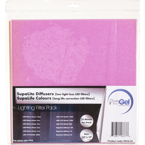 "Pro Gel 12x12"" SupaLite LED Low Light Loss Diffusers and Long Lasting LED Correction Filters (12-Pack)"