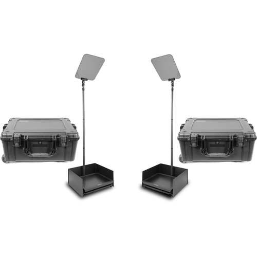 """Prompter People ProLine StagePro 19"""" Presidential CF Teleprompters (Pair) with HighBright Monitor & 2 Flight Cases"""