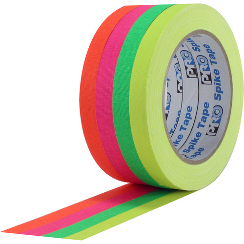 "ProTapes Pro Spike Stack Fluorescent Cloth Tape Set (Four 1"" x 60' Rolls)"