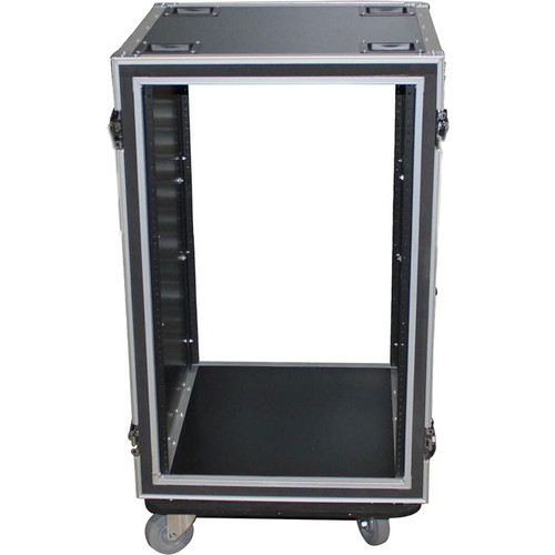 """ProX T-10RSP24W Shockproof Amp Rack ATA Flight Case (24"""" Depth, 10 RU, with Casters)"""