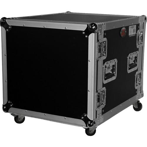 "ProX 10U Vertical Amp Rack Mount ATA Flight Case 19""D - 4""Blue Casters"