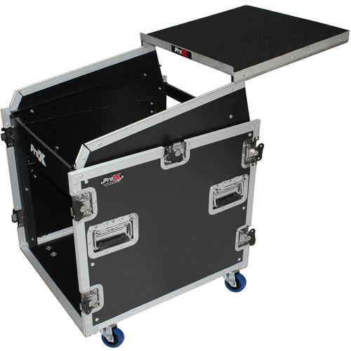 ProX 13 RU Top Mixer DJ Rack Combo Flight Case with Laptop Shelf and Casters