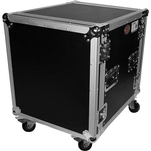 "ProX 12U Vertical Amp Rack Mount ATA Flight Case 19""D - 4""Blue Casters"