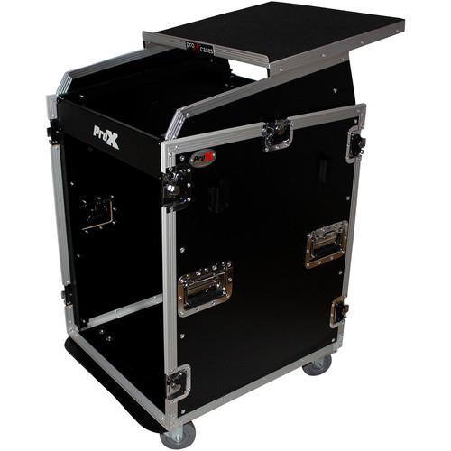 ProX T-16MRSS13ULT Mixer/DJ Rack Combo Flight Case with Casters, Laptop Shelf & Side Table