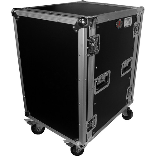 "ProX 16U Vertical Amp Rack Mount ATA Flight Case 19""D - 4""Blue Casters"