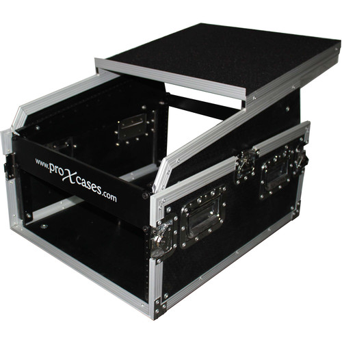 ProX 13 RU Top DJ Mixer Flight Case with 6 RU Rack Space and Laptop Shelf