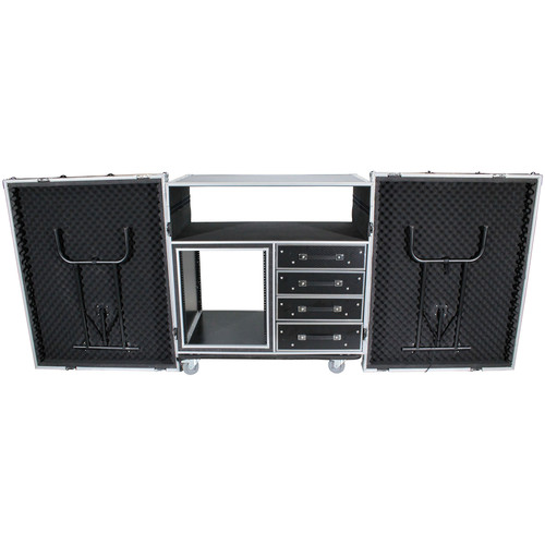 """ProX 12 RU Dual-Table Case and Mixing Console Workstation with Casters (20"""" Rail-to-Rail)"""