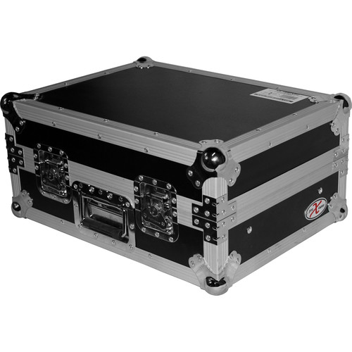 "ProX XS-19MIX8U 19"" Slanted Rack Mount Mixer Case (8 RU, Silver on Black)"