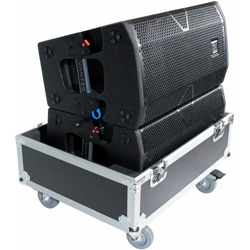 ProX Universal Line Array Speaker Flight Case with Wheels for Two Speakers (Silver on Black)