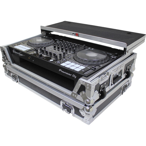 ProX Flight Case for Pioneer DDJ100 Controller with Laptop Shelf and Wheels (Silver-on-Black)