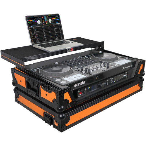 ProX Flight Case for Pioneer DDJ-1000 Controller with Laptop Shelf and Wheels (Black-on-Orange)