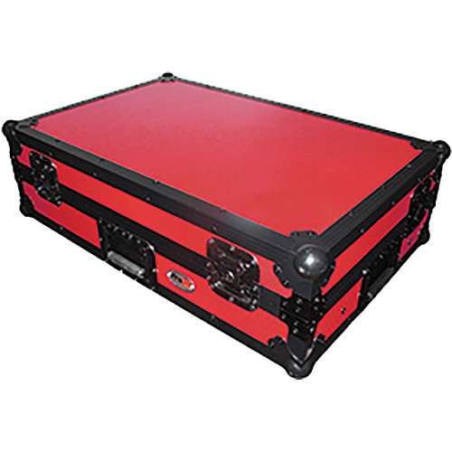 ProX Flight Case for Pioneer DDJ100 Controller with Laptop Shelf and Wheels (Black-on-Red)