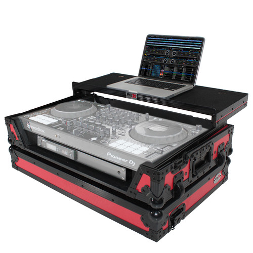 ProX XS-DDJ1000 WLTRB LED Flight Case for Pioneer DDJ-1000 Controller with Shelf, Wheels, and LED Kit (Black on Red)