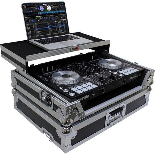 ProX Flight Case for Pioneer DDJ-SR2 Controller with Laptop Shelf and LED Kit (Silver-on-Black)